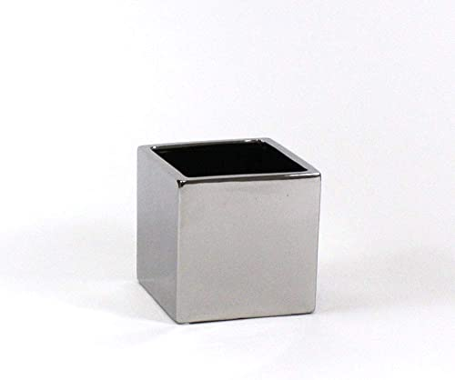 WGV Ceramic Cube Vase Width 5.5 Height 5 Fits 5 Pot Elegant Modern Block Square Floral Planter Terrarium Container Table Dresser for Event Accent Home Office Decor Silver 1 Piece