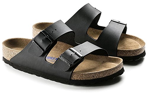 Print Birkenstock - Arizona Women's 2-Strap 'Soft-Footbed w. Blue Print' Sandal, Matte Black (40 Normal, 9-9.5 US Women)