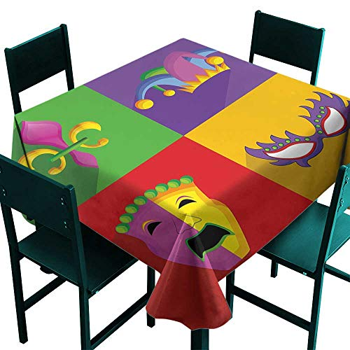 (Party Table Cloth Mardi Gras,Colorful Frames with Mardi Gras Icons Masks Harlequin Hat and Fleur De Lis Print,Multicolor,W36 x L36 Table Cloth Cover Wedding Event Party)