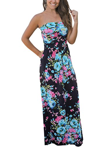 HOTAPEI Women's Strapless Vintage Floral Print Party Maxi Dress