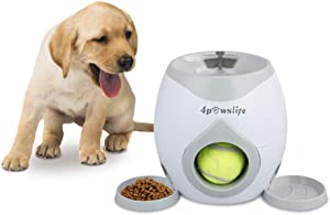 4pawslife Interactive Dog Ball Fetch and Treat Dispenser Treat Toy, Dog Feeder Tennis Ball Reward Machine for Dogs, Funny Dog Foraging Play Toy(NOT A Launcher)