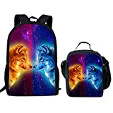 Showudesigns School Book Bag 17 inch Backpack Satchel and Lunch Box for Student Wolf Printing