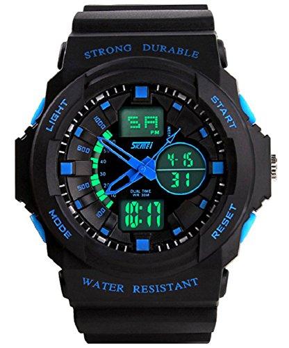 Fanmis Led Light Calendar Waterproof Shockproof Mens Boys Digital Electronic Outdoor Sport Watch Blue