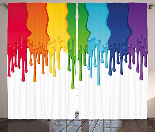 Ambesonne Abstract Curtains, Rainbow Colored Paint with Leaking Splattered Drops Creative Artsy Graphic Design, Living Room Bedroom Window Drapes 2 Panel Set, 108 W X 96 L Inches, Multicolor