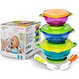 Stay Put and Spill Proof Suction Bowl Set with Bonus Fork and Spoon, 3 Different Size Bowls, and Snap Tight Lids, Complete Baby Feeding Set and Perfect for Storage FDA Approved BPA Free