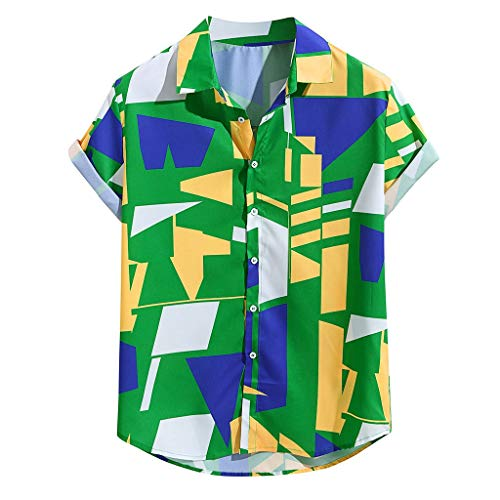 MIUCAT Funky Hawaiian Shirt Men Short Sleeve Geometric Print Multiple Colors Green -