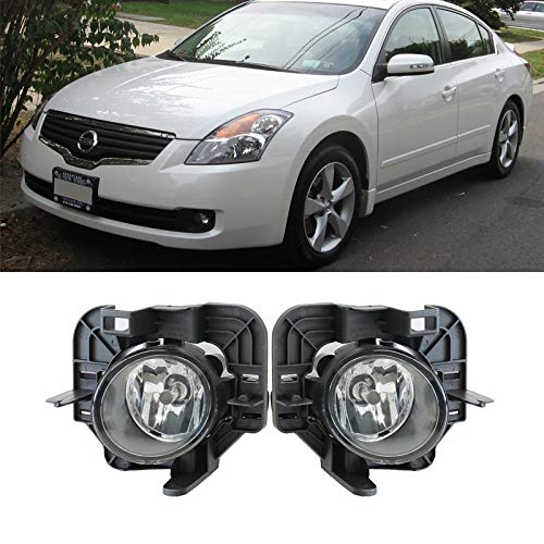 07-09 Altima Fog Lights,Sailingli Fit Nissan 2007-2009 Altima 4Dr/4-Door Sedan 1 Pair New Clear Lens Front Bumper Driving Lamp w/ H11 Bulbs+Switch+Relay+Wire+Hardware ()