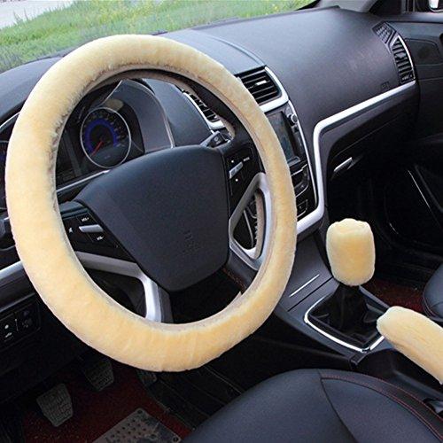 acdiac 3pcs Plush Car Steering Wheel Covers Winter Faux Wool Hand Brake & Gear Cover Set Car Seat Cover Interior Accessories-38cm (beige)