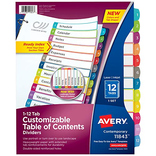 (Avery 12-Tab Binder Dividers, Customizable Table of Contents, Contemporary Multicolor Tabs, 1 Set (11843))