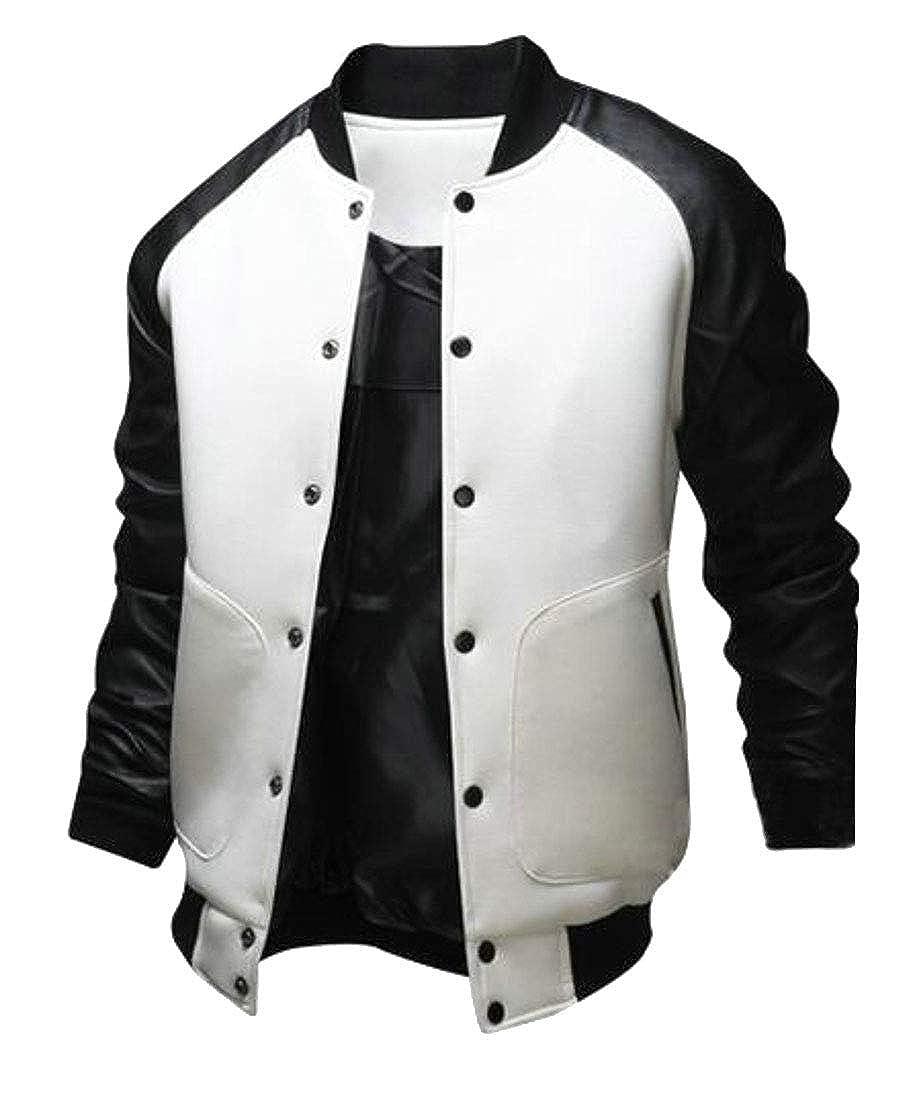 MU2M Men Outerwear Long Sleeve Faux Leather Bomber Jacket Baseball Coat