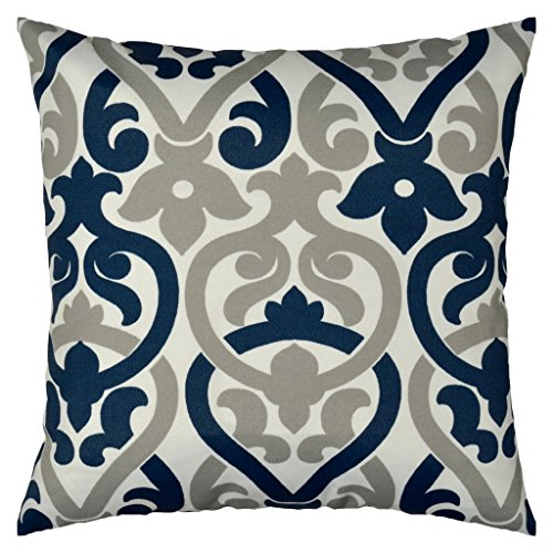 JinStyles Floral Outdoor Decorative Throw Pillow Cover (Gray and Navy Blue, 18 x 18 (Navy Blue Toss Pillow)