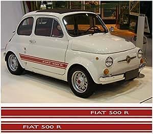 Amazon Com Fiat 500 R Abarth Side Decal 2pcs Set Red Automotive