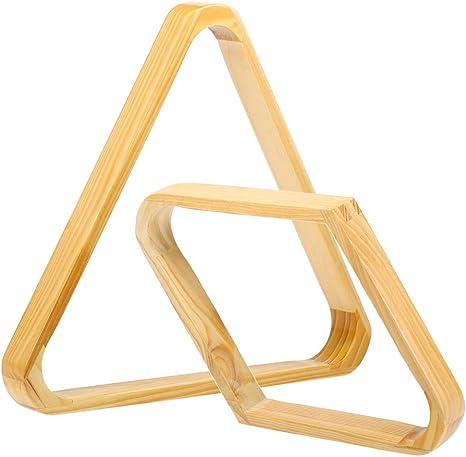Walmeck- Juego de bastidores de Bolas de Billar Juego de bastidores Triangulares de 9 Bolas de Diamantes y 15 Bolas Bastidores de Bolas de Taco de Madera Maciza Suministro de Billar: Amazon.es: