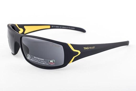 7c102e8e854d TAG Heuer Ayrton Senna Racer Sunglasses MATTE BLACK - YELLOW - OUTDOOR GREY  9202 108  Amazon.co.uk  Clothing