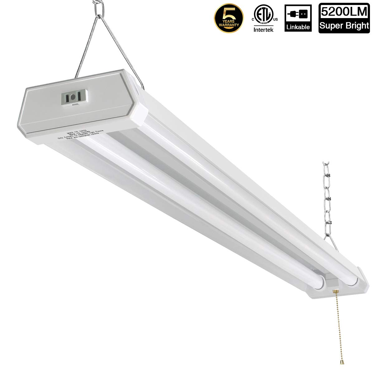 Linkable led shop light for garage 42w 5200lm 4ft 6000 6500k daylight white with pull chain on off cetlus listed 5 year warranty 6000k 1pk