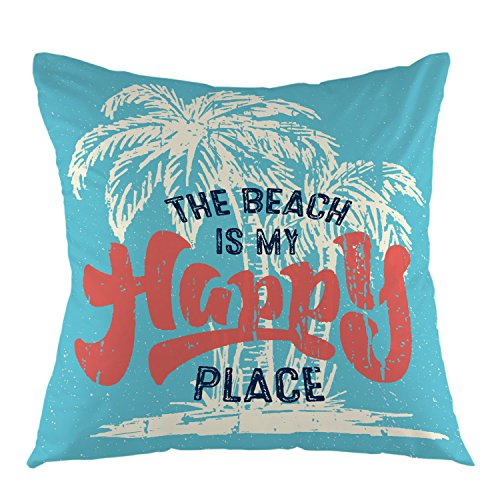 (oFloral The Beach is My Happy Place with Palm Tree Pillow Case Home Decorative Square Cushion Cover for Sofa Bed Chair Couch Decoration 18 x 18 Inch Teal Red)