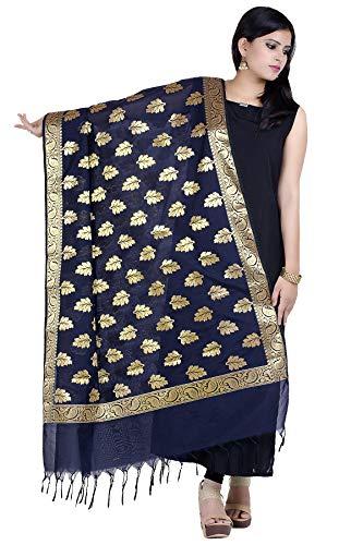 Chandrakala Women's Handwoven Blue Cutwork Brocade Banarasi Dupatta Stole Scarf,Free Size (D143BLU) - Brocade Scarf Silk