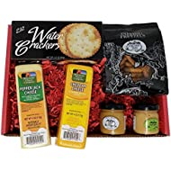 Specialty Gourmet Snack Gift Basket - features 100% Wisconsin Cheddar & Pepper Jack Cheeses, Crackers, Pretzels & Mustard. A Perfect Gift Basket for a Birthday, Thank you or Anniversary | Food Gift