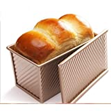 Pullman Loaf Pan w Cover Bread Toast Mold corrugated loaf Pan w lid 1lb dough Alluminum Alloy Non Stick Gold (8.5X4.75X4…