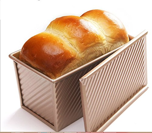 (Monfish Pullman Loaf Pan w Cover Bread Toast Mold Non Stick Gold Aluminized Steel 8.35x4inch)