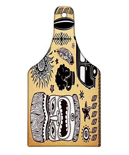 Lunarable Vintage Hawaii Cutting Board, Retro Hawaii Tattoo Old School Van Surfing Board Starfish Soft, Decorative Tempered Glass Cutting and Serving Board, Wine Bottle Shape, Pale Brown Black White by Lunarable