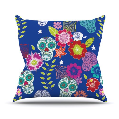Kess InHouse Anneline Sophia Day of The Dead Blue Aztec Outdoor Throw Pillow, 16 by 16-Inch supplier