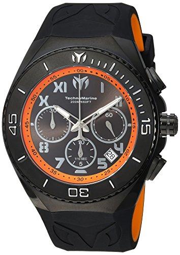Technomarine Men's Manta Stainless Steel Quartz Watch with Silicone Strap, Black, 31 (Model: TM-215072)