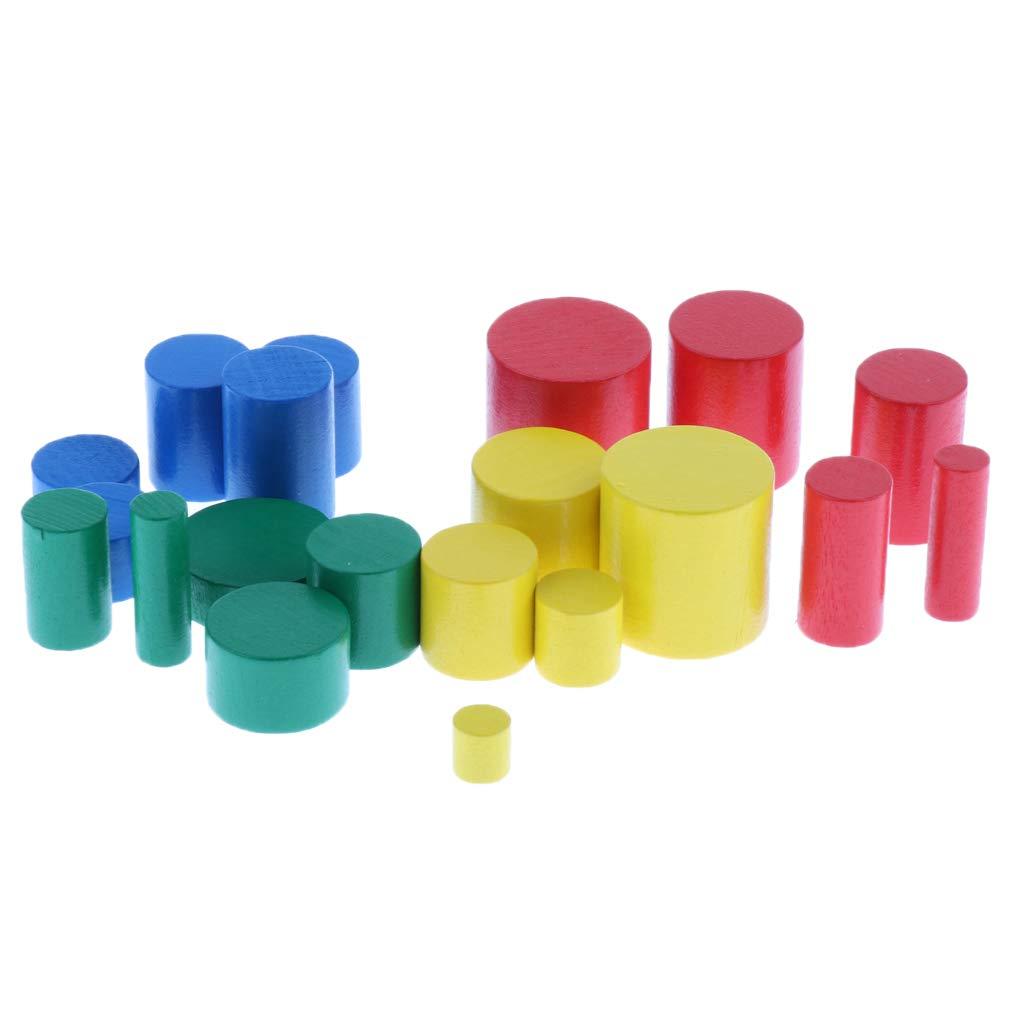 Baoblaze Montessori Educatif Jouet Jouet Cylindre Douille Multicolore G/éom/étrie de Math/ématiquesen Bois Cadeaux No/ël pour Enfants