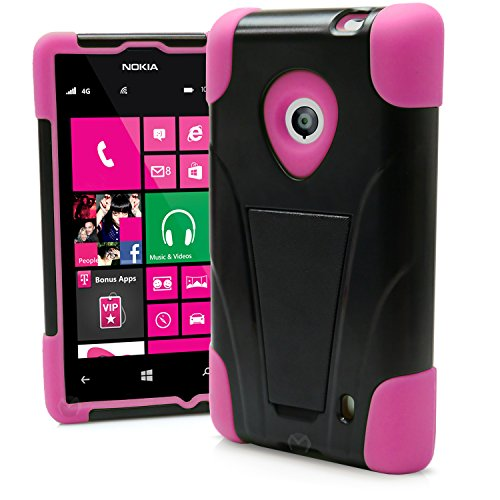 Nokia Lumia 520 Case, MagicMobile Premium Hybrid Shockproof Armor Cover Two Layers of Protection Hot Pink Soft Silicone and Black Hard Plastic Cover with Kickstand [ Compatible Only with Nokia Lumia 520 521 in All Carriers]