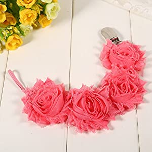 (Pack of 2) Floral Pacifier Clip Holder Anti-lost for Baby Girls Infant Soother Chain Strap (Watermelon Red)