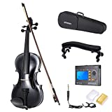 ammoon 4/4 Student Violin with Steel String with Arbor Bow Carrying Case for Beginners Music Lovers + Multifunctional 3-in-1 Digital Tuner Metronome Tone Generator + Violin Shoulder Rest