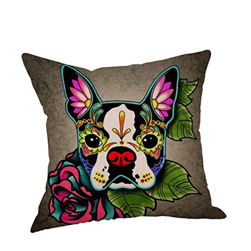 Price comparison product image Howstar Linen Pillow Cover Cute Dog Print Home Decorative Throw Pillowcase (A)