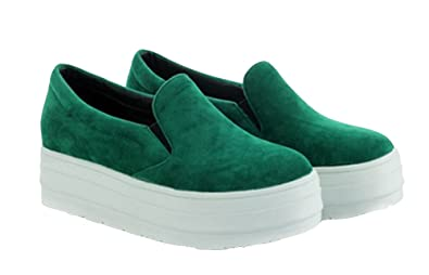 1b5ebb2ce868 Sfnld Women s Fashion Slip On Platform Sneaker Green 4 B(M) US