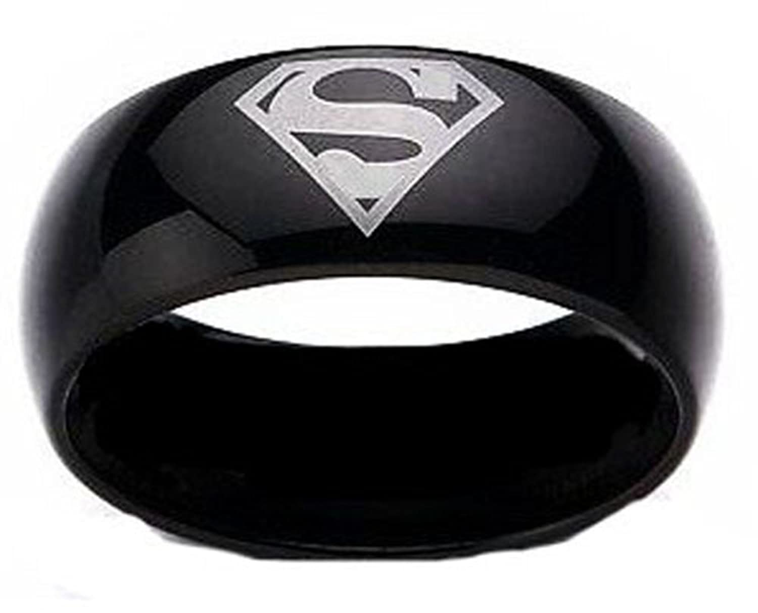 Amazoncom Superman Print Black Tungsten Carbide DC Width 8 mm