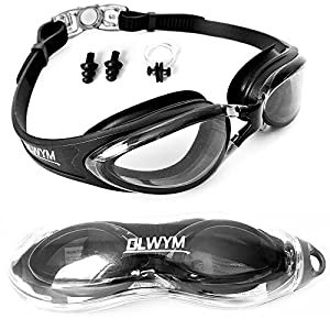Swim Goggles, Olwym Swimming Goggles - No Leak Anti Fog UV Protection Triathlon Swim Goggles with Free Protection Case, Nose Clips & Ear Plugs for Adult Men Women Kids Child (Black - Clear Lenses)