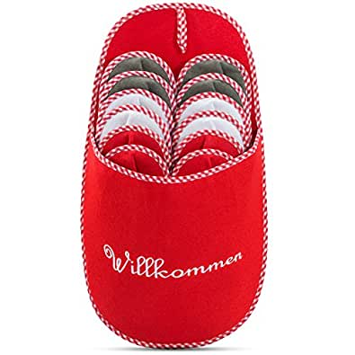 """Juego de pantuflas para invitados con zapatero con letrero """"Wilkommen"""" (Bienvenido)"""
