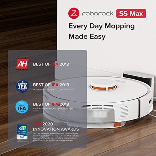 roborock S5 Max Aspirateur robot avec fonction nettoyage, aspirateur robot intelligent avec 2000 Pa d'aspiration et connexion Wi-Fi pour poils d'animaux (noir) - Home Robots