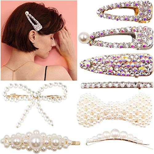 Bling Hair Bow - Women Pearl Hair Clips and Big Bow Bling Hairpins for Women Metal Plated Barrettes hair pins for Wedding Bridal Decroation In Summer