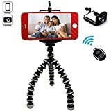iPhone Tripod-Portable and Adjustable Phone Tripod Stand Holder-Tripod for iPhone, Cellphone,Gopro Hero, Digital SLR DSLR Cameras with Cellphone Holder Clip and Remote Shutter-Mini Tripod