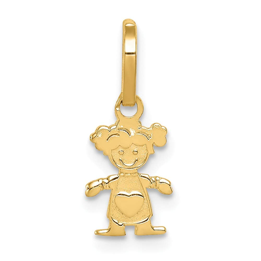 14K Yellow Gold Polished Little Girl Pendant Solid Pendants /& Charms Jewelry