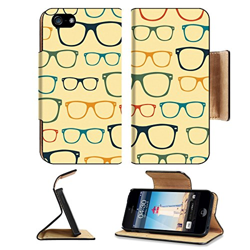 MSD Premium Apple iPhone 5 iPhone 5S Flip Pu Leather Wallet Case iPhone5 IMAGE ID: 31104845 Seamless pattern retro - Elements Carbon Sunglasses