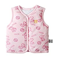 Monvecle Baby Organic Cotton Warm Vests Unisex Infant to Toddler Padded Waistcoat Pink Dog 9-12M