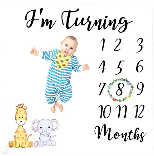 Nomi Baby Monthly Milestone Blanket for Boys and Girls | Soft and Thick Baby Blanket | 44 x 47 inch | Creates Adorable Milestones Pictures for Newborns | Organic Cotton Bib and Wreath Month Marker