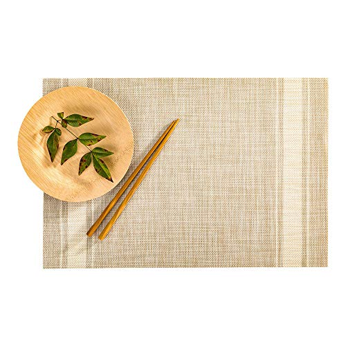 Vinyl Country Placemat - Restaurantware RWA0417GR French Countryside Khaki Vinyl Woven Placemat with Eggshell Stripe 16