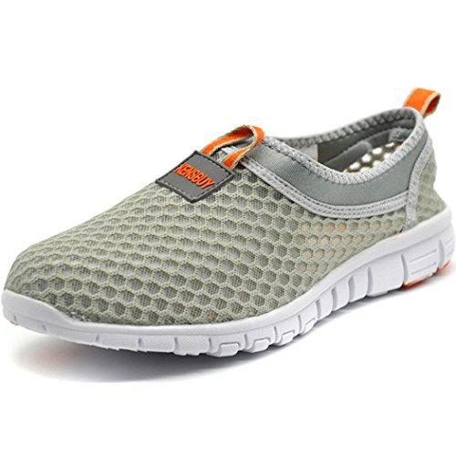 KENSBUY Women's Lightweight Slip on Mesh Shoes Quick Drying Aqua Water Shoes Athletic Sport Walking Sneaker (Orange EU41 Women) by KENSBUY