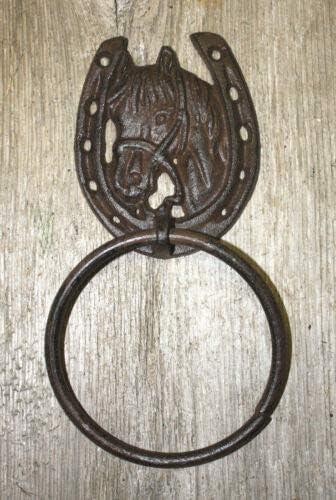 Horse Shoe CAST IRON RUSTIC BROWN AGED LOOK HORSE SHOE DESIGN DOOR KNOCKER