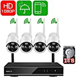 ONWOTE Security Camera System 1080P HD Wireless IP Cameras and 4 Channel NVR Recorder with Motion Activated Mobile App Remote View for Outdoor Home Surveillance with 1TB Hard Drive
