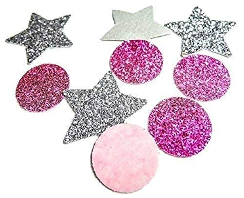 Silber Glitter Stern Konfetti und Rosa Rund Konfetti fü r Dekoration und Party