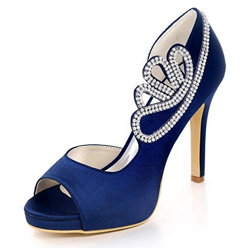 Imitación De Las Diamantes Blue Tamaño 6041 Honor yc Boda Dama Raso Zapatos Mujeres Gran Verano Corte La 07 L 4wvEfx