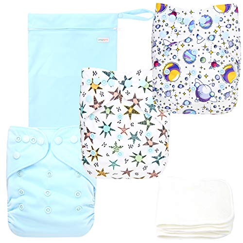 Langsprit Baby Cloth Diaper with Highly Absorbent Bamboo Inserts & Wet Bag,Reusable Unisex Baby Diapers,Baby Shower Gift (Space)